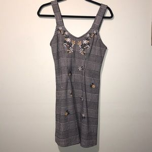 Topshop Gingham Embroidered Dress